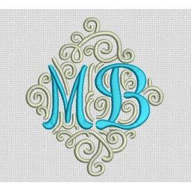Adorn Duo Ornamental Monogram Machine Embroidery Designs by JuJu