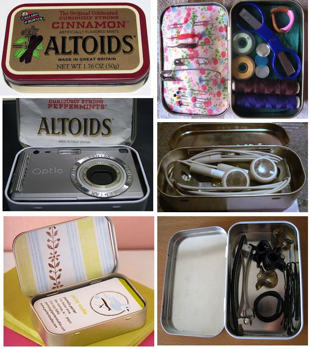 Uses for Altoid Tins: Altoid Boxes, Projects Crafts, Sewing Kit, Tin Craft, Tin Projects, Altoids Tins, Craft Ideas, Altoid Tins
