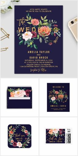 I adore this invitation!! Its part of a beautiful autumn floral wedding invitation suite which features a stunning bouquet of blush, orange peach, and marsala burgundy flowers with faux gold foil typography and confetti. This fall wedding collection includes all of the essentials, & more: envelopes, stamps, labels, belly bands, five RSVP options, enclosure cards, save the date, thank you cards, bridal shower and party invites, and paper for your ceremony and reception.