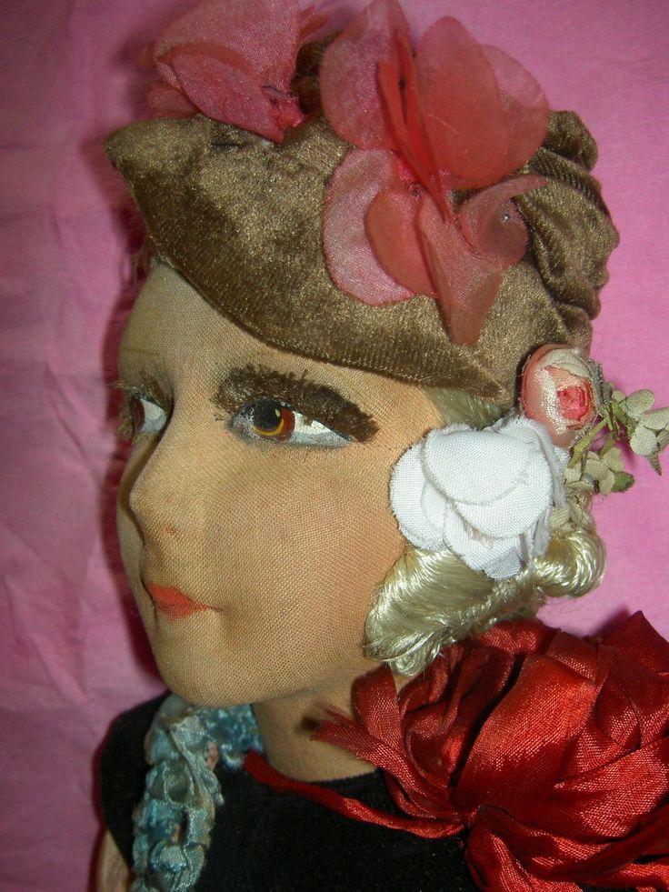 Чрезвычайно Очаровательная французская Античная Ткань Boudoir Кровать кукла с густыми ресницами | eBay