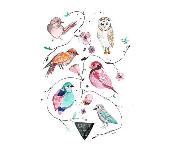 Birds of the Wild Print by yaymeeralee