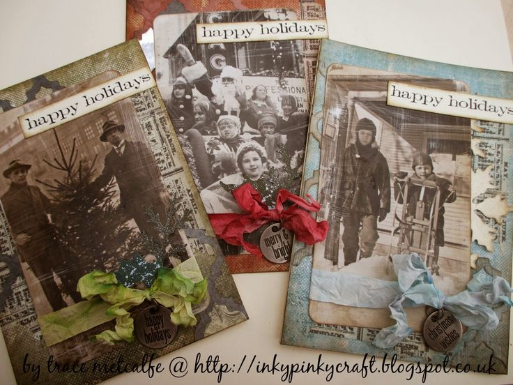 Tim Holtz style Christmas cards using his found relatives.