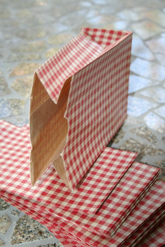 Set of 100  Red Gingham Flat Bottom Paper by InTheClear on Etsy, $20.25