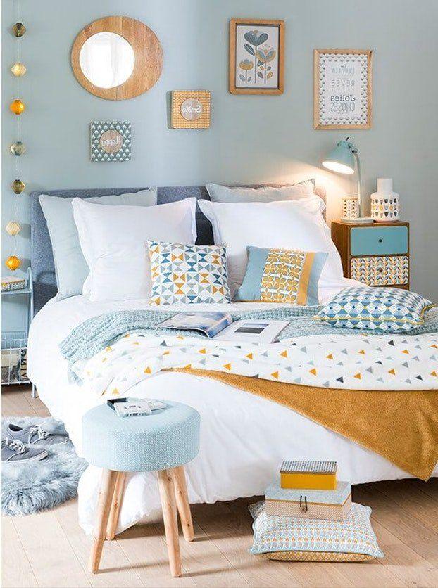 Chambre Scandinave Graphique Jaune Bleu Gris Textile Bois En