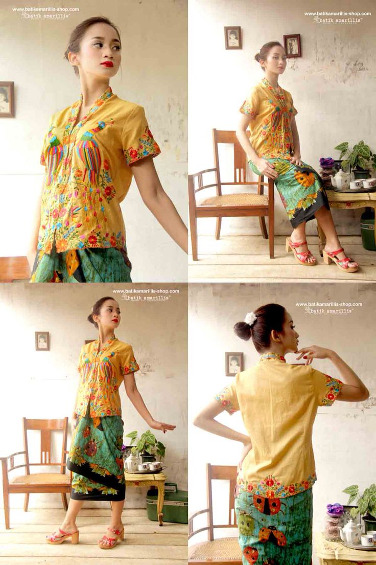 Proudly presents: Batik Amarillis's Sugar and spice ... from Indonesia with Love.... lovely Kebaya ,  Javanese's traditional blouse features Mexican Embroidery with Batik Wonogiren Sarong.