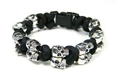 Black 550 Paracord Silver Skull Bracelet With Snake Knots - US Seller