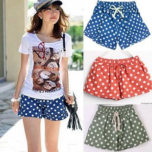 Летние женские шорты хлопок конфеты цвета шорты джинсовые шорты горошек щенок керлинг дна свободные шорты юбка - Taobao