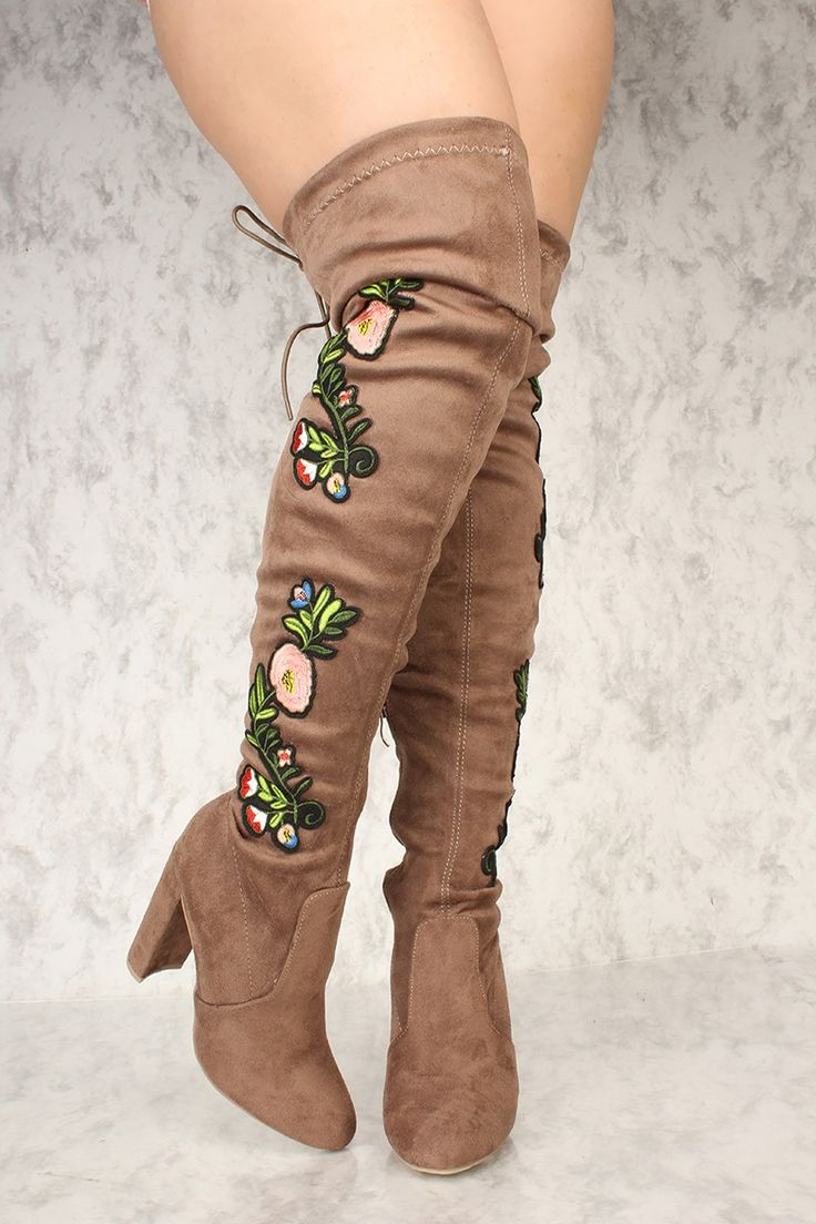 Rock these boots with a short velvet bodycon party dress with an oversize bomber jacket. The featuring includes a bold color with a faux suede fabric, floral embroider design, back tie, round close toe, inner zipper closure followed by a cushion foot-bed. Approximately 4 inch heel, 21.5 inch shaft and 16.5 inch circumferences.