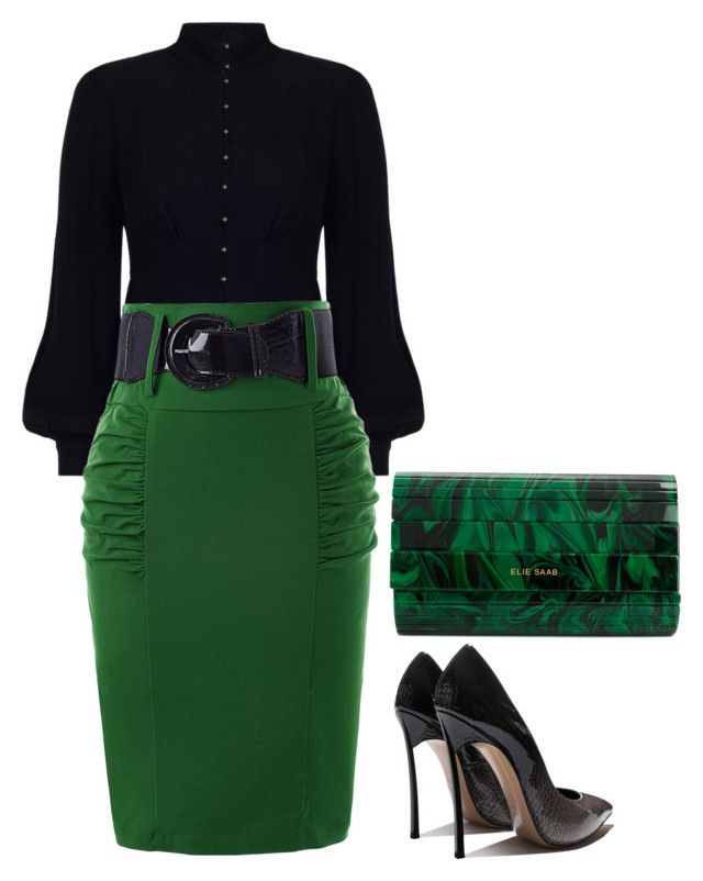 """""""Green and Black"""" by hisprincess2017 on Polyvore featuring Zimmermann and Elie Saab"""