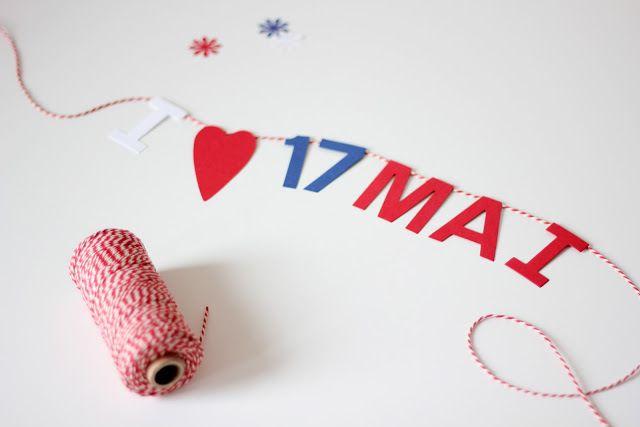 Vi forberedar oss til 17. Mai med DIY papirdekorasjonar i rødt, kvitt og blått.