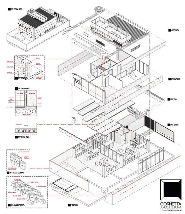 Axonométrica explodida de um de nossos projetos de casas pré-fabricadas. #cornetta #arquitetura #prefab #premoldados #casasprefabricadas