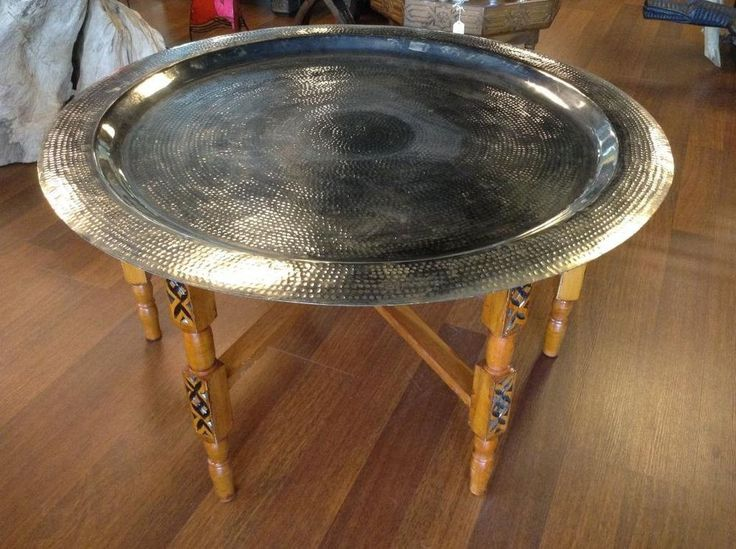 "Moroccan Tea Folding Table 23"" Tray Top Star of David  #Handmade #Moroccan"