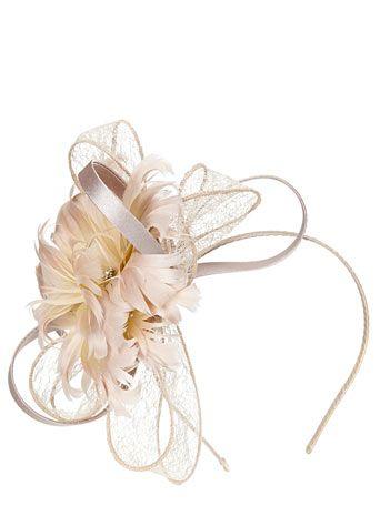 Champagne Feather Satin Loop - fascinators & hats - occasionwear  - Women