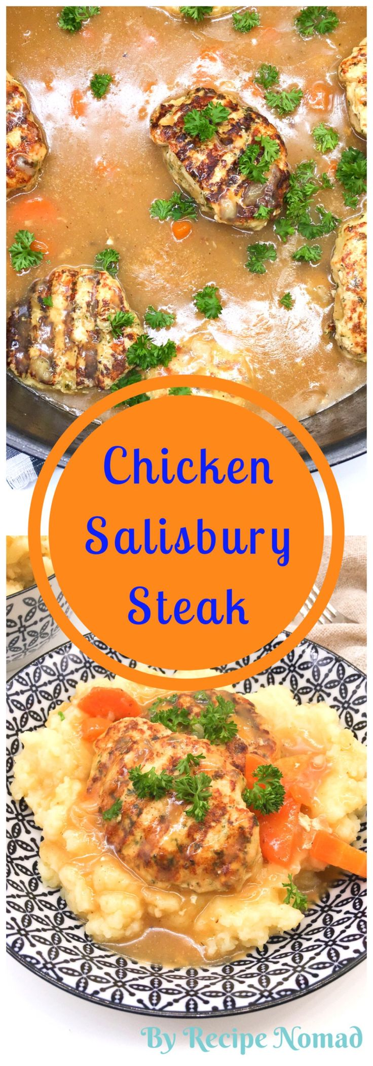 A healthy take on a classic Salisbury Steak! Read more to find the secret to moist chicken!  One Pot Chicken Salisbury Steak | Recipe Nomad  http://www.recipenomad.com/one-pot-chicken-salisbury-steak/