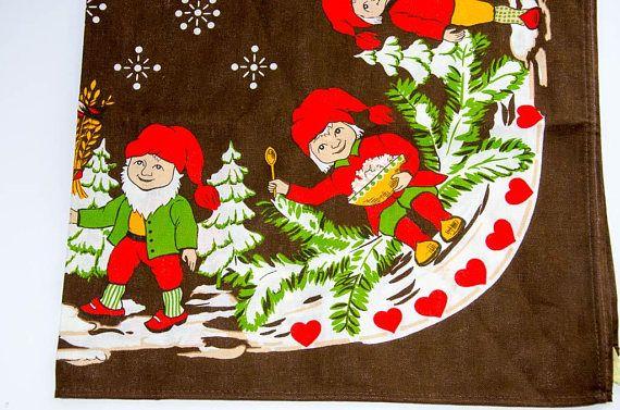 Vintage Christmas  Scandinavian Tablecloth   Elves Swedish