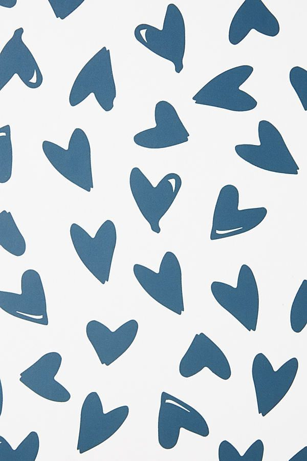 Scatter Hearts Wallpaper By Sugar Paper La In Blue Wall Decor At Anthropologie 24277285485 Heart Wallpaper Iphone Background Wallpaper Cute Patterns Wallpaper