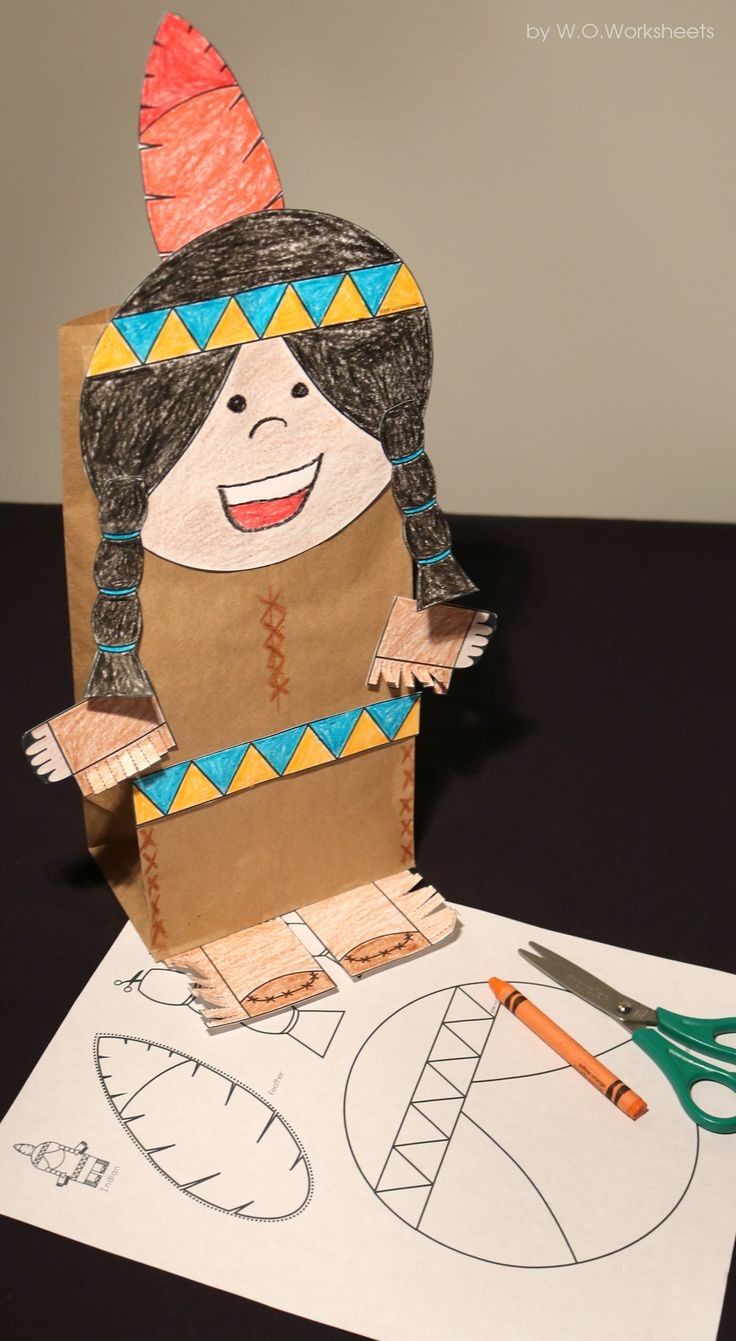 Easy to cut and assemble this Native American Indian craft is perfect for a Thanksgiving display.