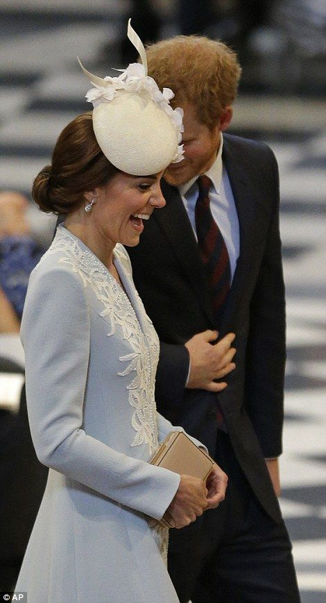 June 10, 2016: Prince Harry made the Duchess of Cambridge howl with laughter once they were inside St. Paul's Cathedral for The National Service of Thanksgiving. ~ Photo by AP.