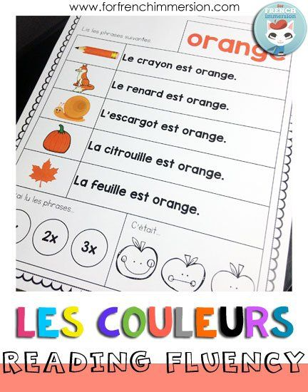 French Reading Fluency Practice Sheets - French Colors - les couleurs