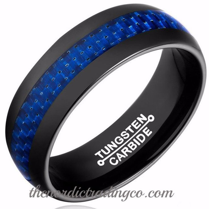 Blue Lives Matter in Black Tungsten Carbide Thin Blue Line Carbon Fiber Inlay Men's / Couples Rings Wedding Bands 1st Responder Police Officer Black Tungsten Carbide Rings with Blue Carbon Fiber Thin Inlay.  Beautiful and Affordable. 2nd Ring only $30.00 to create the set for under $100. #supportourheroes #thinblueline #policeofficer #backourblue #firstresponder #docofficers #sherrif #sheriff #statetrooper #ring #mensjewelry
