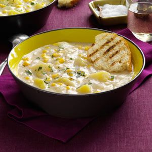 Quick Potato Corn Chowder Soup Recipe from Taste of Home -- shared by Lucia Johnson of Massena, New York
