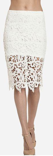 White Venetian Lace Pencil Skirt