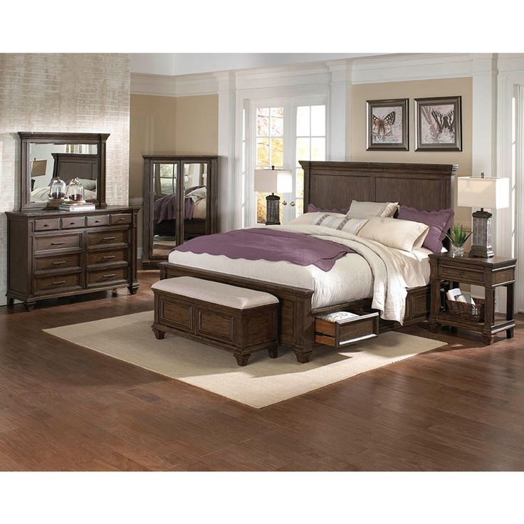 Superb Gallatin Wood Storage Bed In Timeworn Mahogany By A America Box Spring  Required Four Storage Drawers Updated Traditional Design Solid Hardwood  Construction ...
