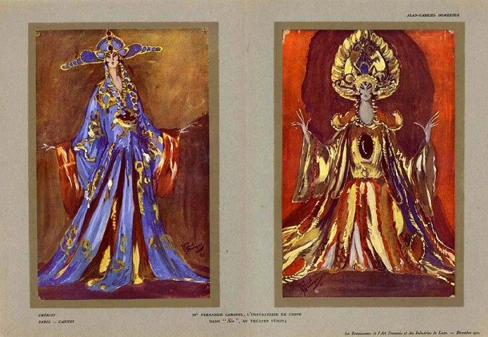 """Theatre Costume, Sin, Impératrice de Chine"" designed by Madame Louise Chéruit; illustrated by Jean Gabriel Domergue, 1921"