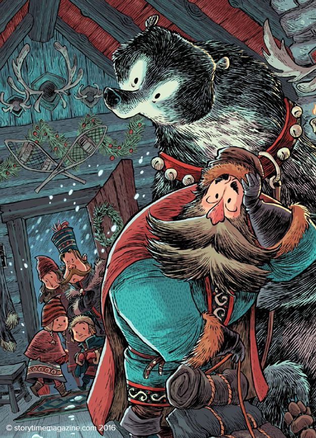 A bear saves Christmas from a group of trolls in our Storytime Christmas Issue. Stunning artwork by Robb Mommaerts (http://robbvision.blogspot.co.uk) Get is here: http://www.storytimemagazine.com/shop