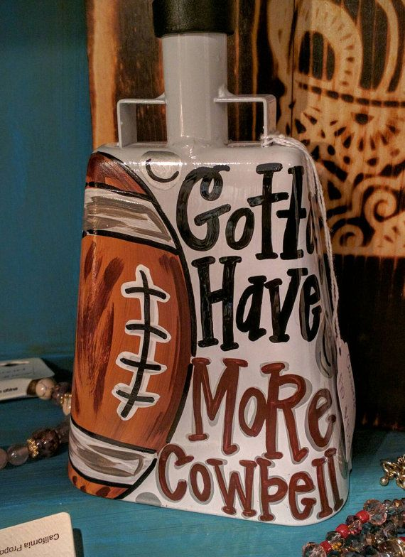 White Football Hand Painted Cowbell by OnTheBrightSideArt on Etsy