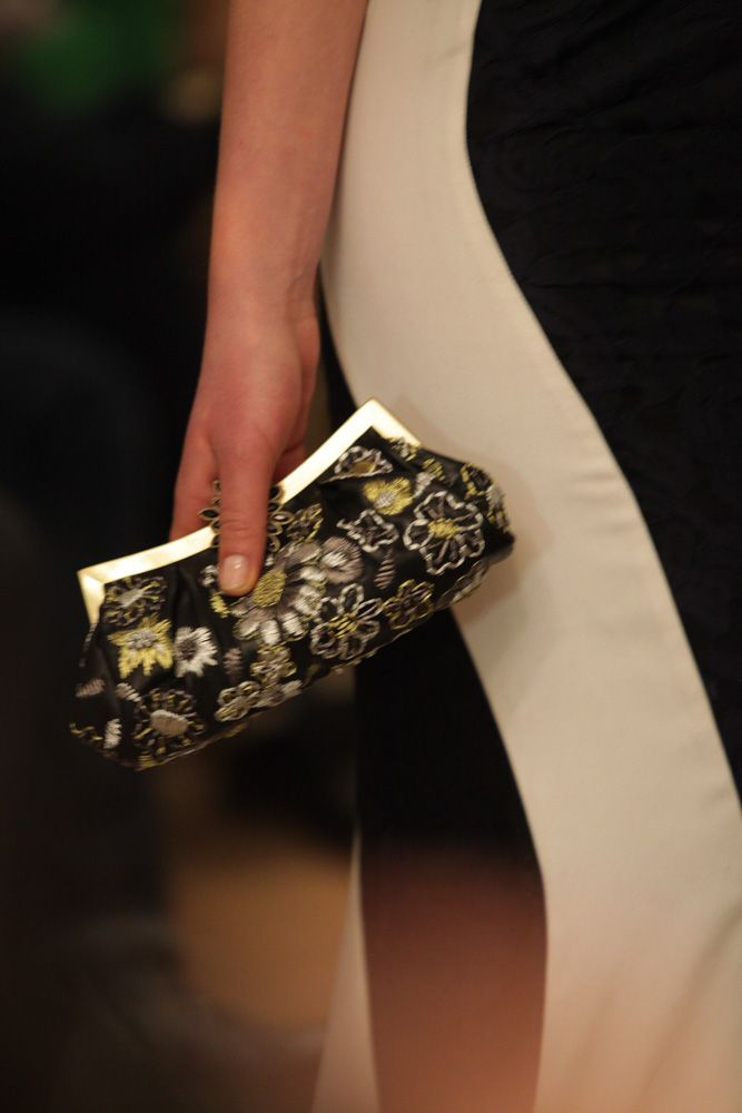 Embroidered leather clutch, AW2013 catwalk