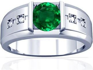 Mens Emerald Ring In Platinum With 2.43 Carats RoundCut Emerald