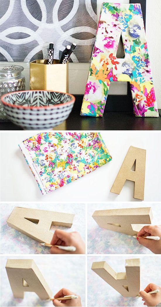 Como forrar uma letra de mdf com tecido e decorar a casa