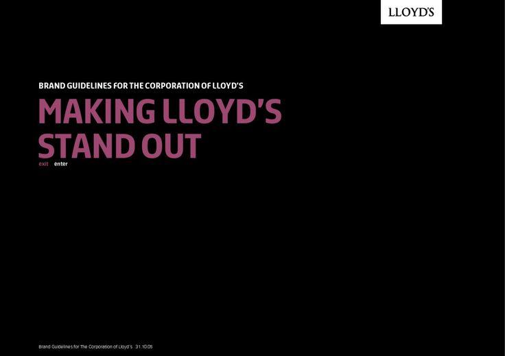Lloyd's Brand manual  Brand manual, Identity Guideline, press kit, media pack