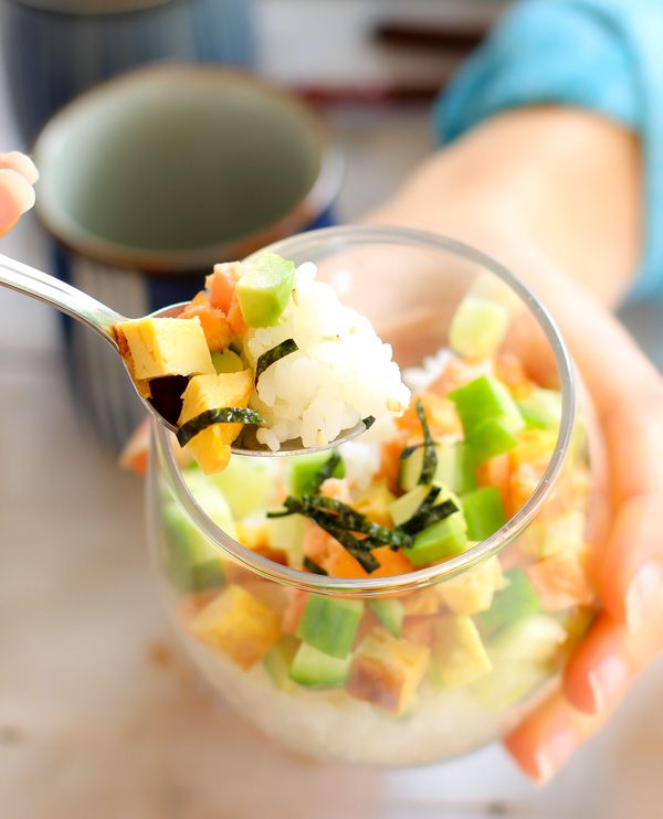 Sushi in a cup, very easy Japanese sushi recipe. No sushi rolling mat and skill required