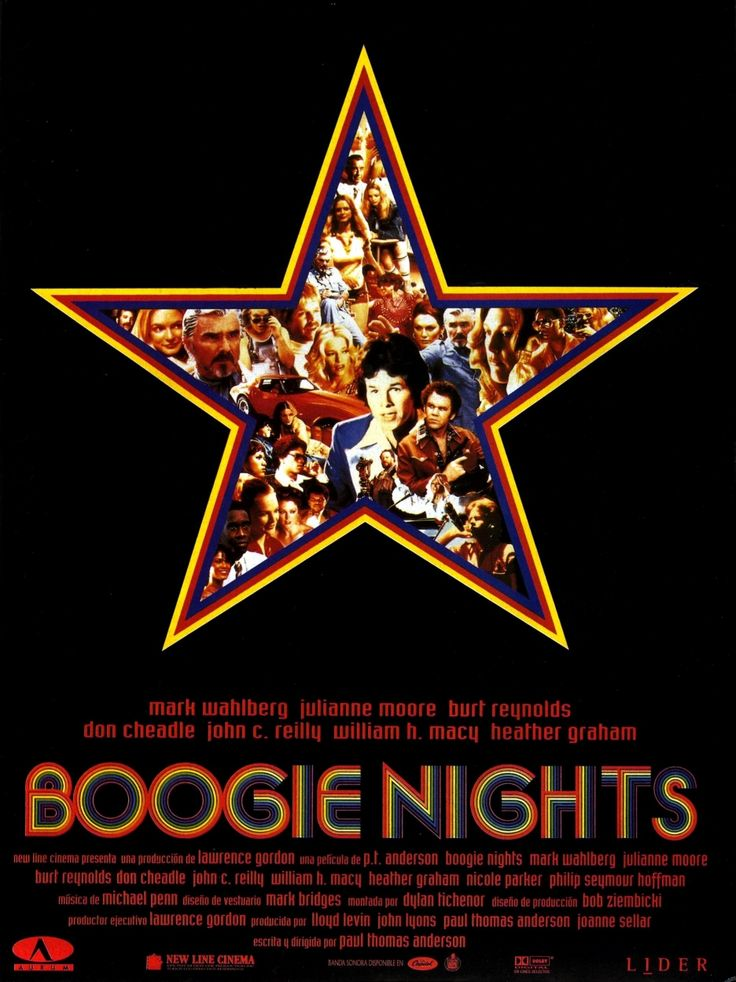 Boogie Nights, directed by Paul Thomas Anderson, highlights the life of a young dishwasher, played by Mark Wahlberg and shows his rise in the golden age of porn in the 1970s and his fall in the 1980s.