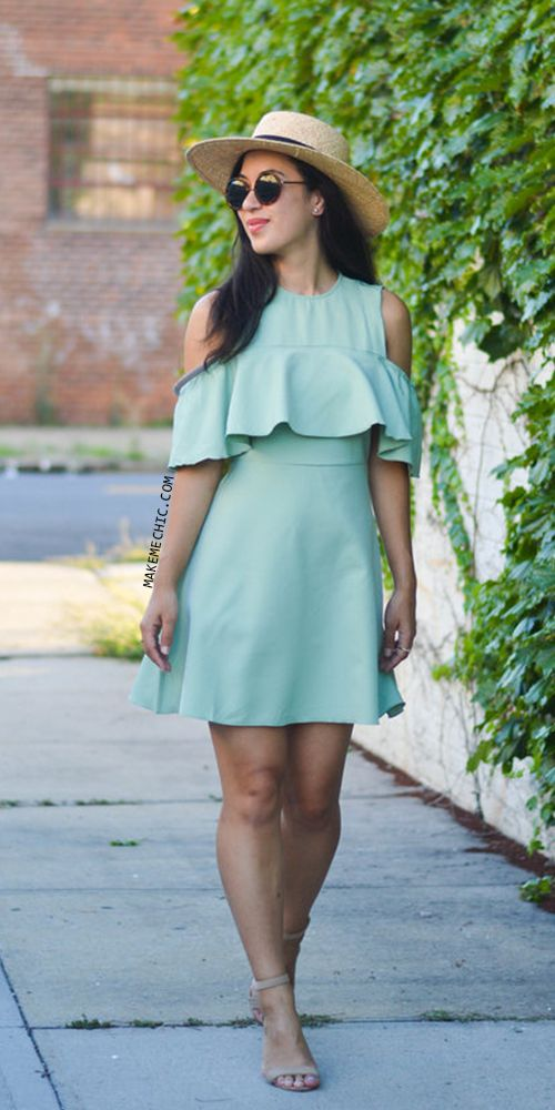 Green Half Sleeve Cold Shoulder Ruffle Dress
