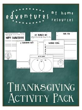 Thanksgiving Activity Sampler Pack - This activity pack includes six worksheets that are geared towards third and fourth grade, but could be adapted towards slightly older or slightly younger students. - FREE