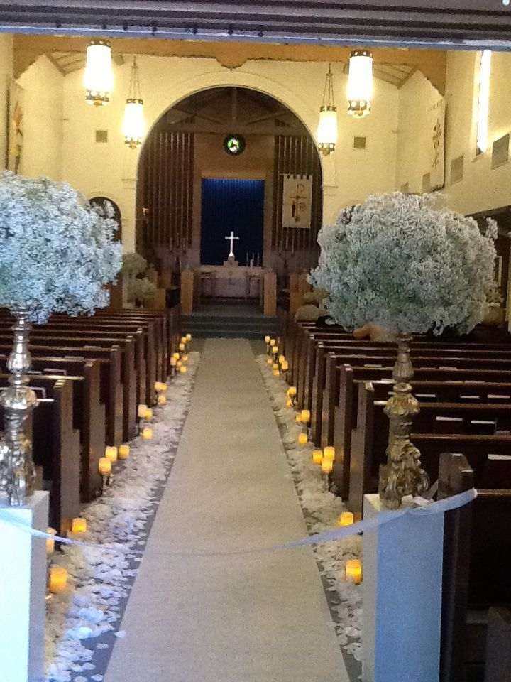 church wedding decorations candles%0A Church ceremony baby u    s breath wedding