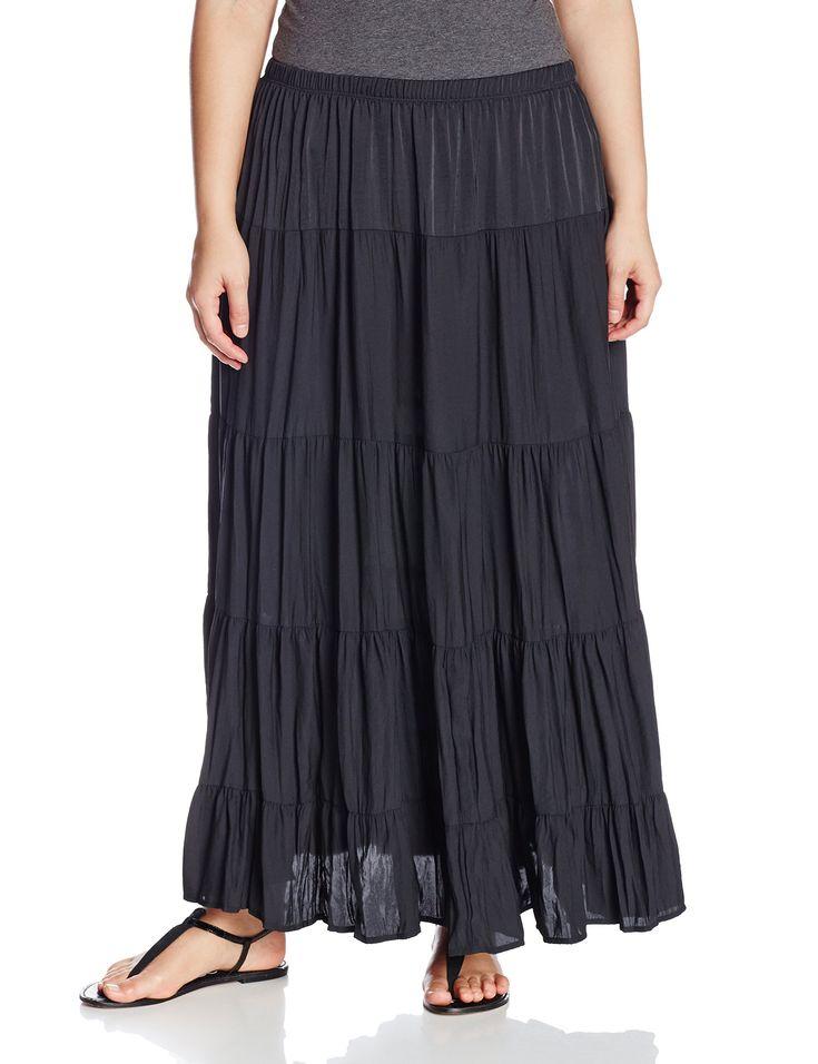 Karen Kane Womens Plus Size Fashion Boho Chic Black Tiered Maxi Skirt 0X 1X 2X 3X Available At Amazon Clothing Store