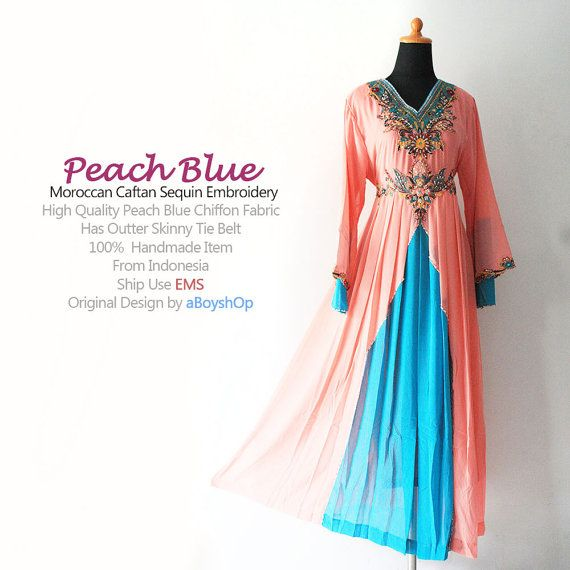Moroccan Peach Blue Chiffon Kaftan Fancy Embroidery Sequins Dubai Abaya Maxi Dress -  For Women UK 16