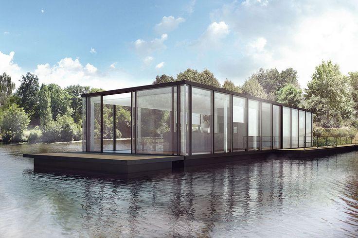 29 besten schwimmende h user bilder auf pinterest hausboote schwimmende architektur und wohnen. Black Bedroom Furniture Sets. Home Design Ideas