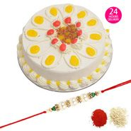 Rakhi & half kg Butterscotch Cake with Same Day Rakhi Delivery