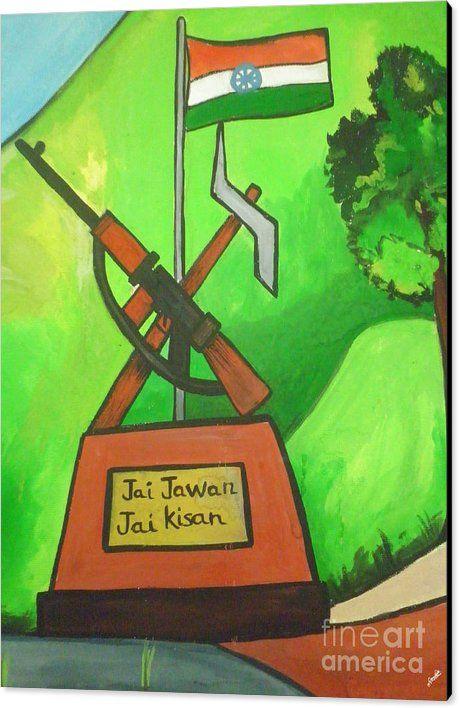 Rest House Canvas Print featuring the drawing Jai Jawan Jai Kisan by Artist…