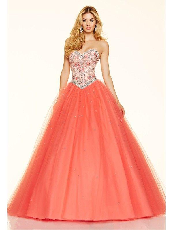 Ball Gown Sweetheart Sleeveless Beading Tulle Floor-Length Dresses