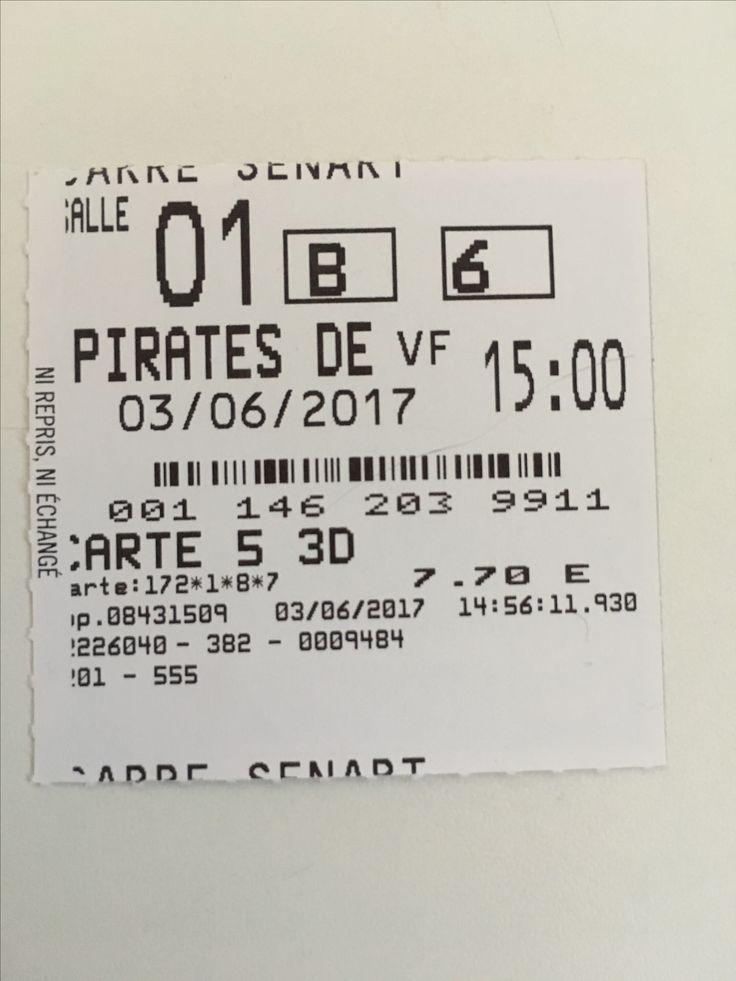 """J'ai vu """"Pirates des Caraïbes 5 La vengeance de Salazar"""" début juin au cinéma à Carré Sénart. C'était bien sympa j'ai passé un très bon moment. Il y a de tout dans ce film. Action, humour, tendresse, sacrifice. Je vous recommande d'aller voir ce film. / I watched 'Pirates of the Caribbean 5 Dead men tell no tales' beginning June in theater in Paris area. It was nice and fun i had a great time."""