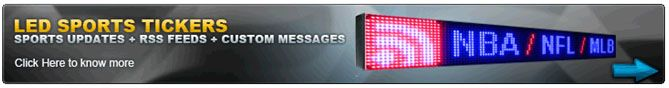 LED RSS Ticker - 6x96 inch Price: $1,550.00 Only RSS Ticker is all-in-one ticker for every business, able to play any RSS feed present on internet. RSS ticker is act like a News ticker if configured to play RSS feed.