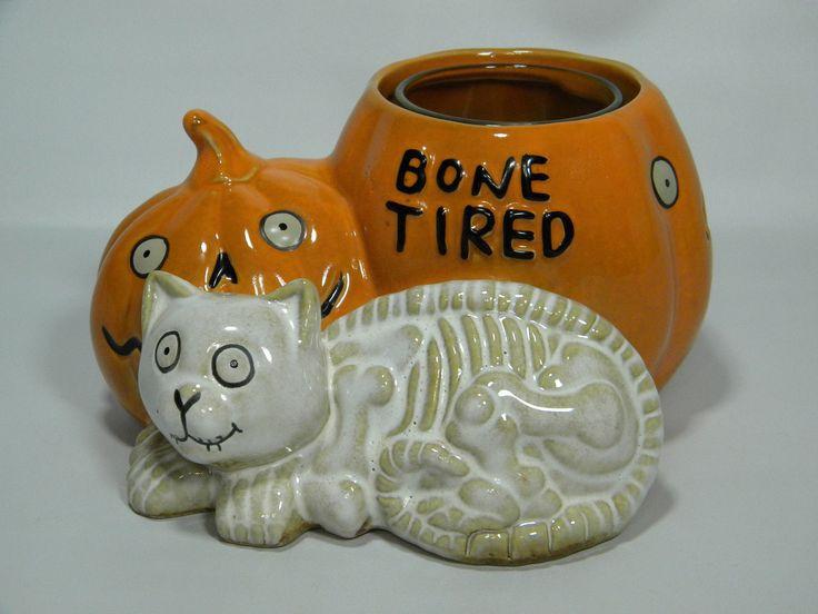 Yankee Candle Bone Tired Cat/Pumpkin Votive Candle Holder - Boney Bunch - NEW! | eBay