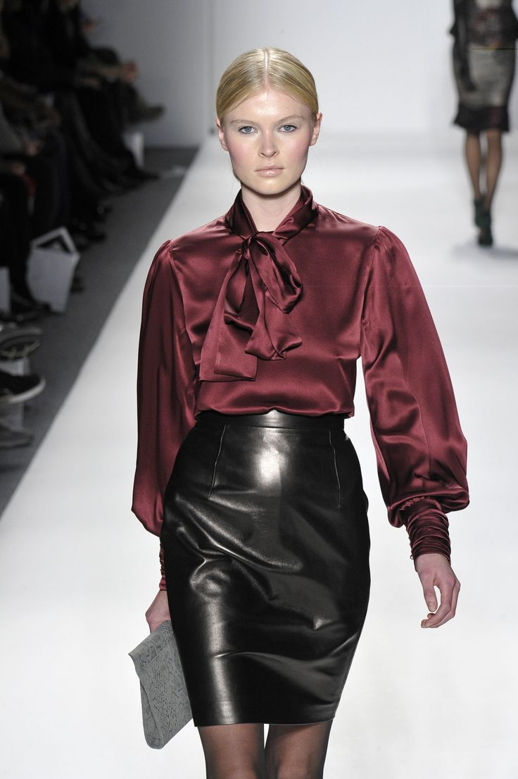 leather pencil skirt satin blouse silk pintuck blouse
