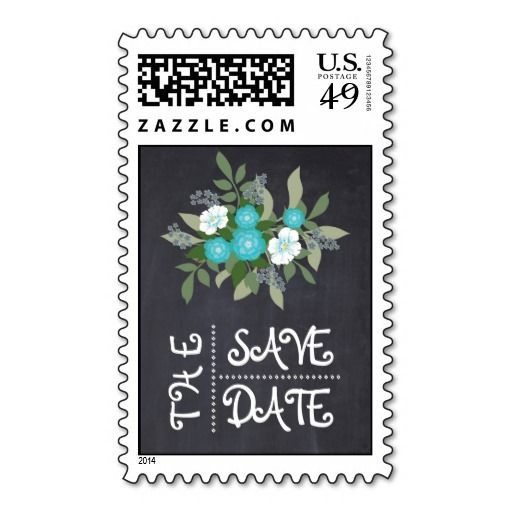 Folklore aqua flowers chalkboard floral wedding Save the Date postage stamp. #Savethedate,#floral, #chalkboard, #flowers, #aqua, #turquoise, #wedding, #postagestamp, #stamp